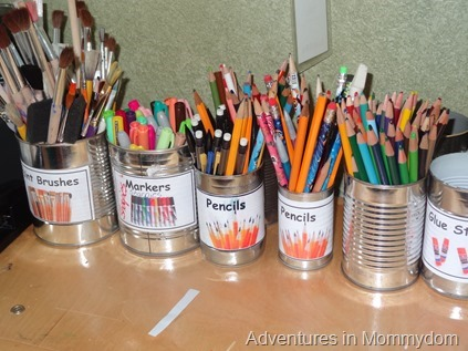 empty cans for organzing craft supplies