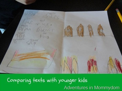 comparing texts with younger kids