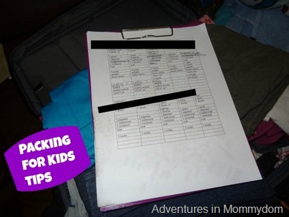 packing for kids tips