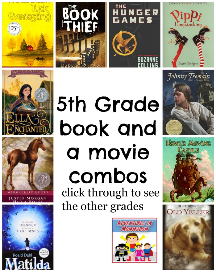 5th grade book and a movie combos