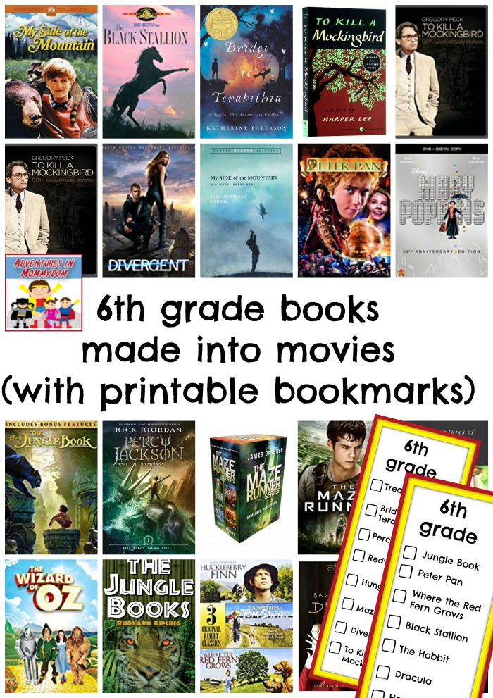 6th grade books made into movies