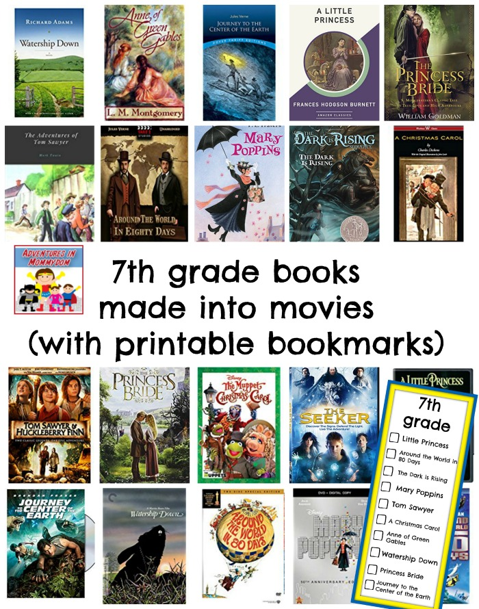 7th grade books made into movies