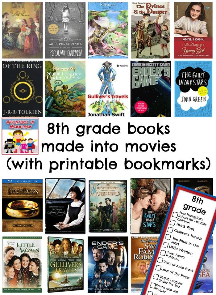 8th grade books made into movies