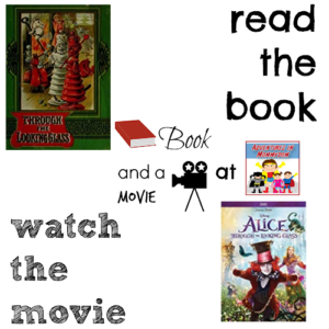 Alice Through the Looking Glass book and a movie 5th 9th reading book club