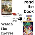 Alice in Wonderland book and a movie feature