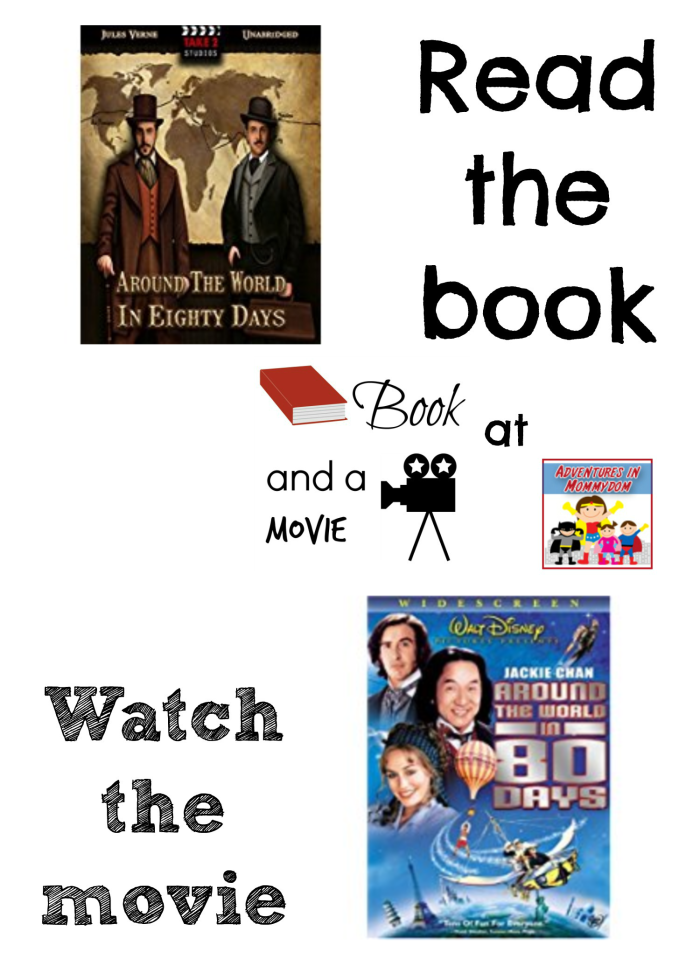 Around the World in 80 Days book and a movie