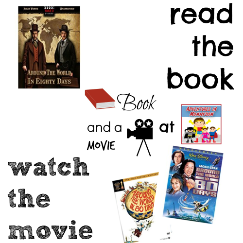 Around the World in 80 Days book and a movie feature copy