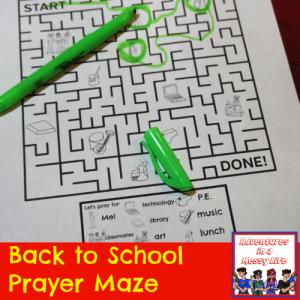 Back to school prayer maze printable