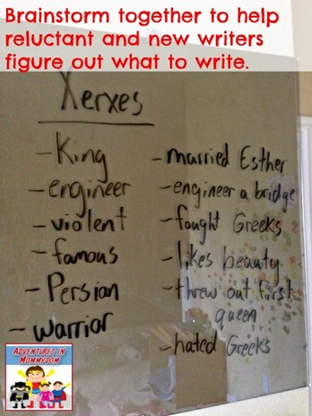 Brainstorm together to help reluctant writers