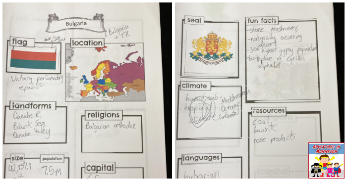 Bulgaria unit notebooking pages