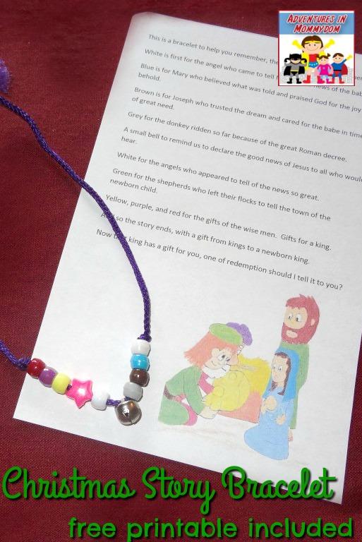 Christmas story bracelet craft for Sunday School