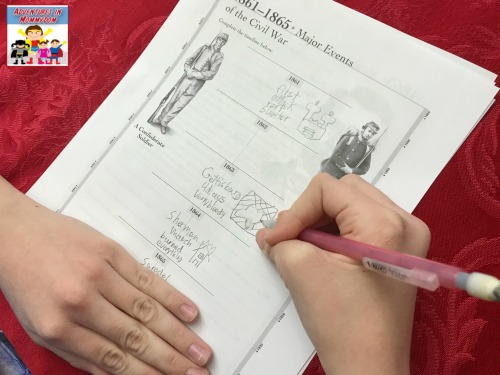 Civil War activity pages