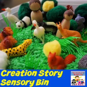 Creation story sensory bin for kids