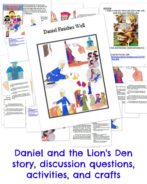 Daniel and the lion's den story and activities
