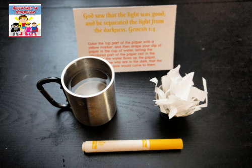 Days of Creation prayer station 1 coffee filter marker cup with water