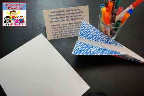 Days of Creation prayer stations 3 flying creatures paper markers