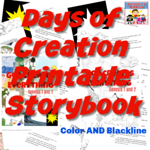 Days of Creation printable storybook color and black and white