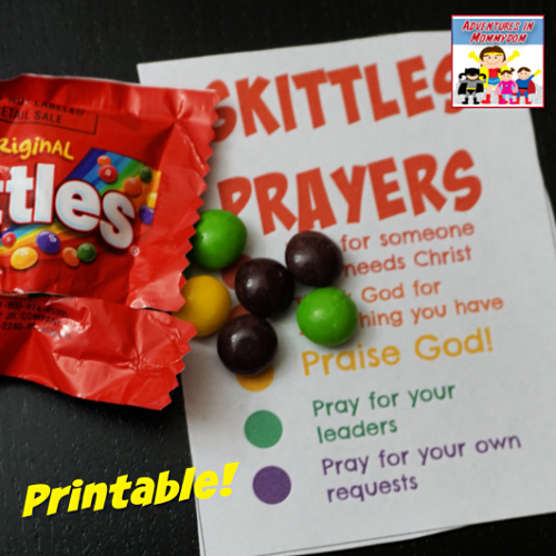 Free Skittles prayer printable for use with your Sunday School or homeschool Bible lesson