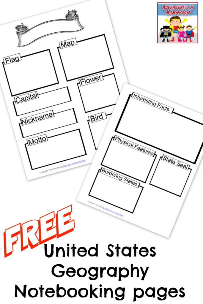 Free united states geography notebooking pages