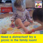 Have a picnic in the family room kid activity