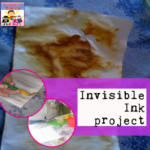 Invisible ink project science chemistry history american revolution preschool kinder book and activity