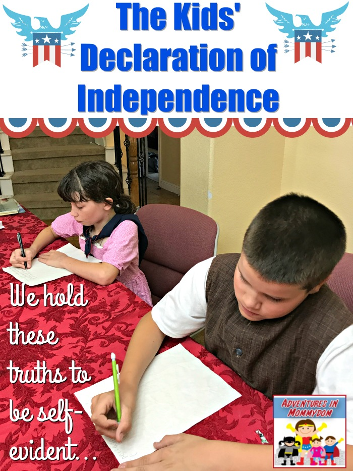 Kid's Declaration of Independence writing activity