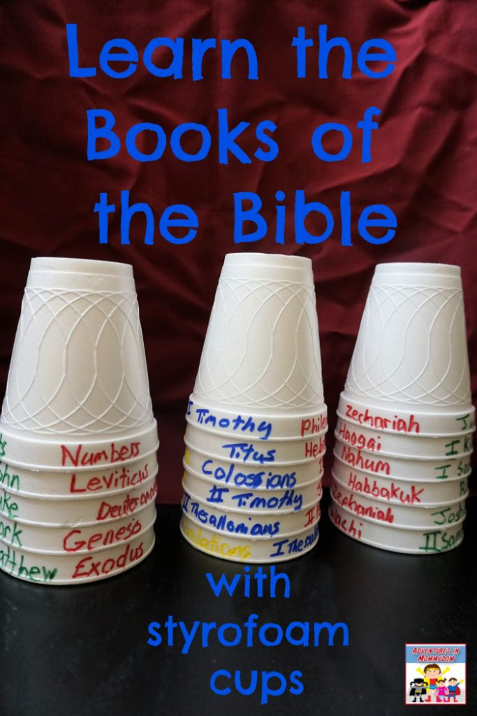 Learn the Books of the Bible with styrofoam cups
