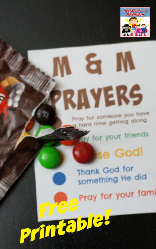 M & M printable prayer list great for Sunday School or American Heritage Girls working on the Girls in Prayer badge