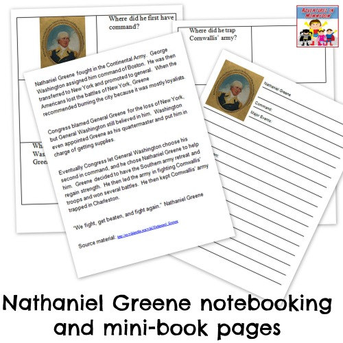 Nathaniel Greene notebooking and mini book pages