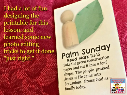 Palm Sunday part of the Palm Sunday craft lesson