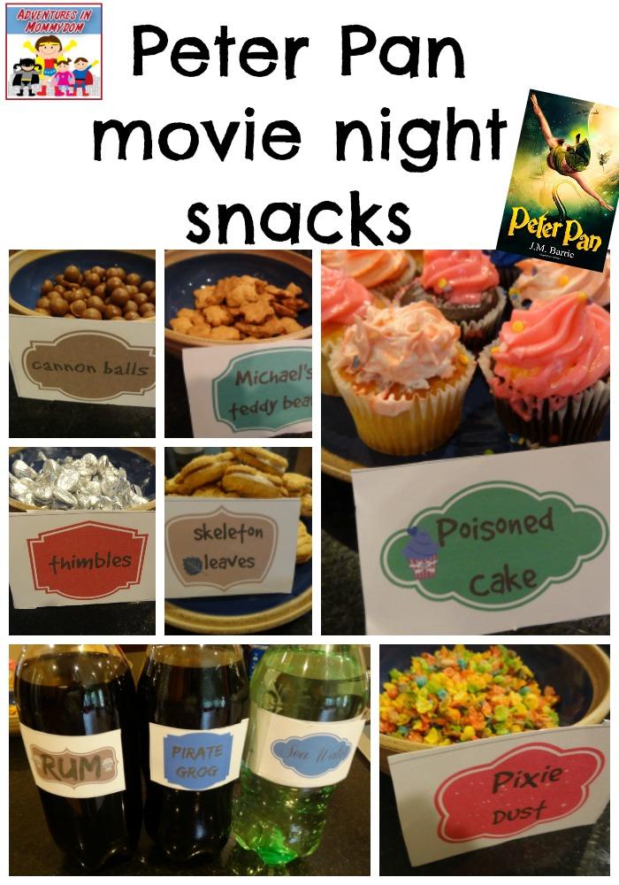 Peter Pan movie night snacks