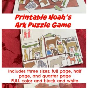 Printable Noah's ark puzzle game