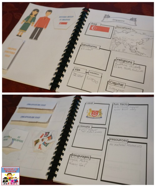 Singapore notebooking pages and lapbooking pages