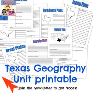Texas geography unit printable