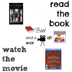 Three Musketeers book and a movie feature high