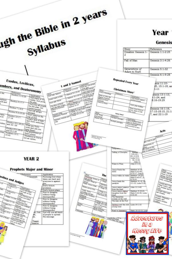 Through the Bible in 2 years syllabus