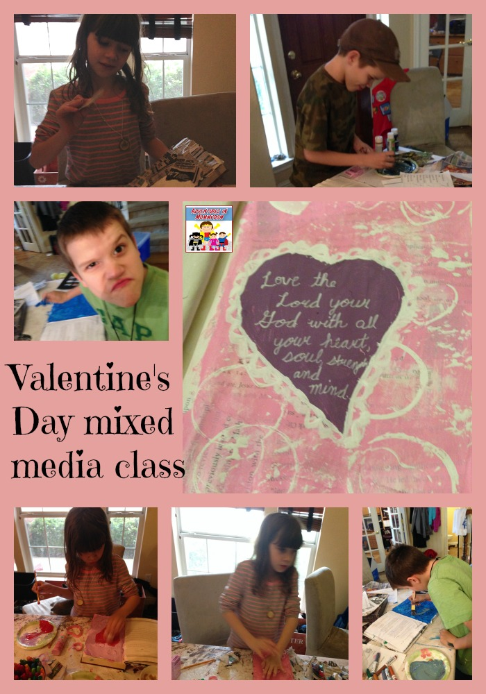 Valentine's Day mixed media class