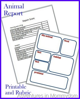 animal report printable and rubric