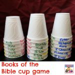books of the Bible cup game for Sunday School