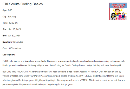 coding basics class for girl scouts