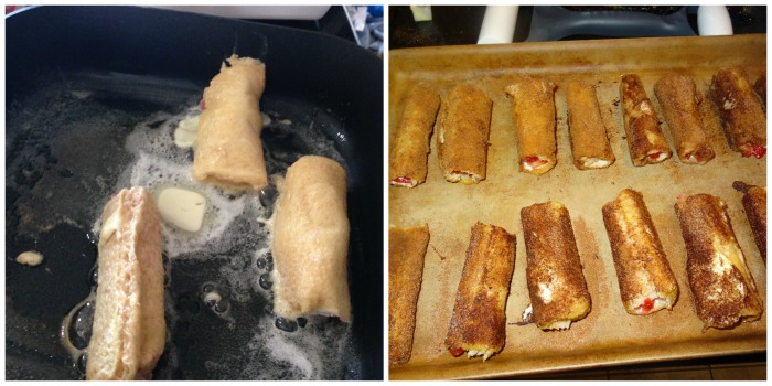cooking the stuffed french toast