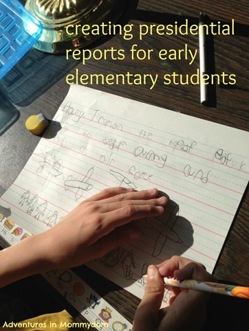creating presidential reports for early elementary students