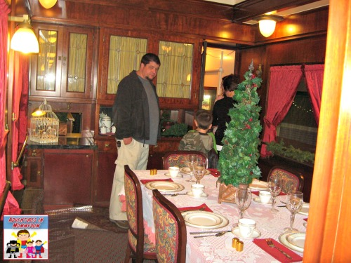 dining car when traveling on a steam train