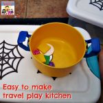 easy to make travel play kitchen with plastic shoe box store toys in kitchen