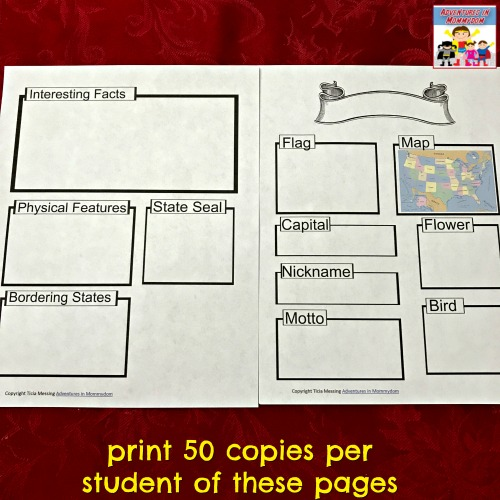 example of state notebooking pages to print 50 of per student
