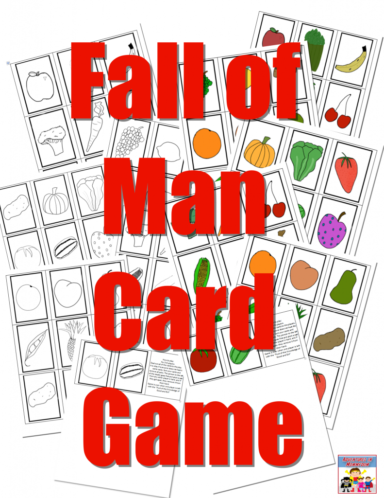 fall of man printable card game in black and white and color