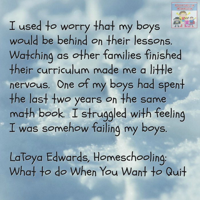 quitting homeschooling, falling further behind