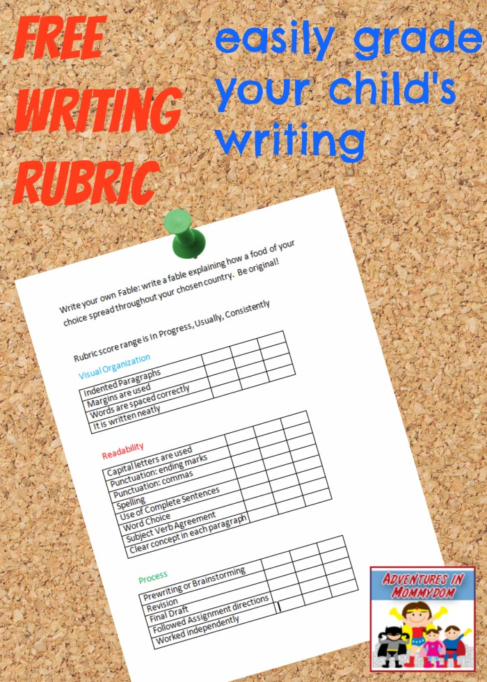 Fable writing assignment rubric