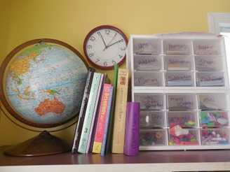 game organization from homeschool room