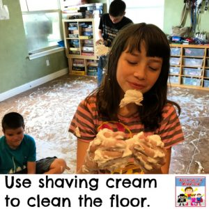 have fun cleaning the floor with shaving cream